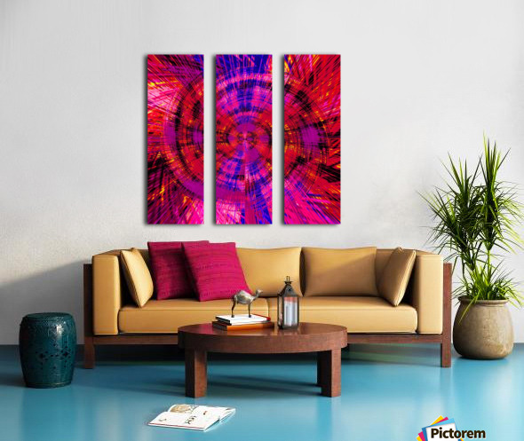 geometric red blue pink and yellow circle plaid pattern abstract background Split Canvas print