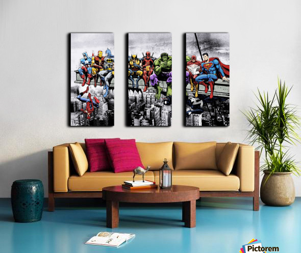 Marvel and DC Superheroes Lunch Atop A Skyscraper Featuring Captain America, Iron Man, Batman, Wolverine, Deadpool, Hulk, Flash & Superman Split Canvas print
