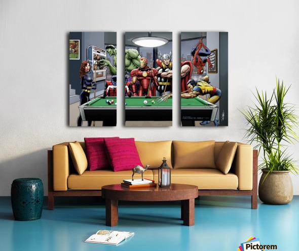 Afterhours: Marvel Superheroes Relax  Playing Pool featuring X-Men & Avengers, Wolverine, Spider-Man, Black Widow, Nightcrawler, Iron Man and Hulk Split Canvas print