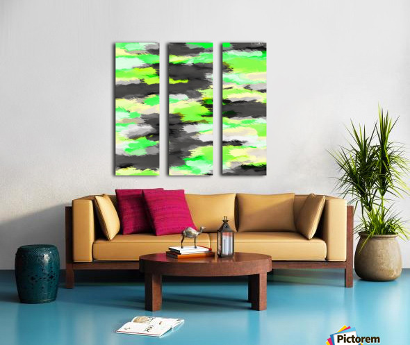 psychedelic camouflage splash painting abstract in green yellow and black Split Canvas print