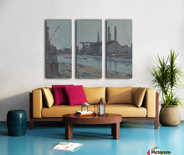Landscape with industrial buildings by a river Split Canvas print