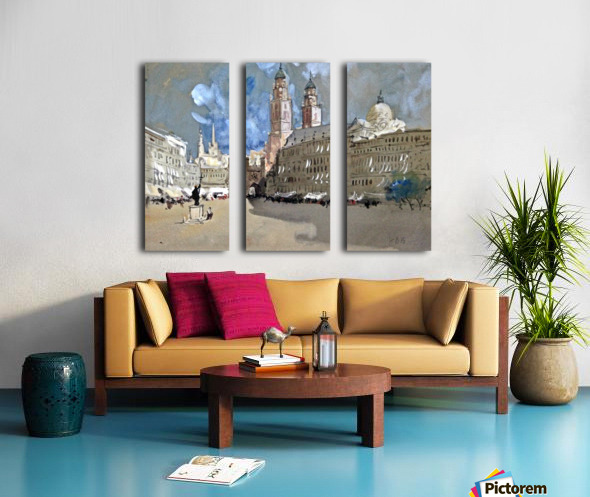 Great view of a large castle near market Split Canvas print