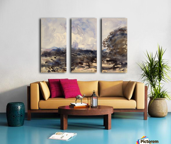 View of a landscape with castle in the back Split Canvas print