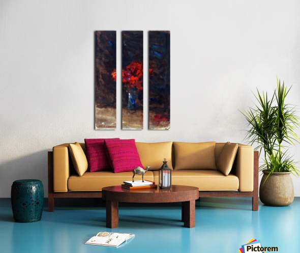 Red flowers in a blue vase Split Canvas print