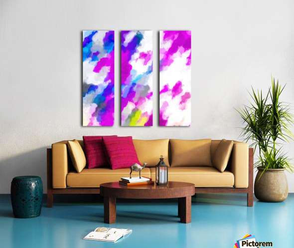 psychedelic painting texture abstract in pink purple blue yellow and white Split Canvas print