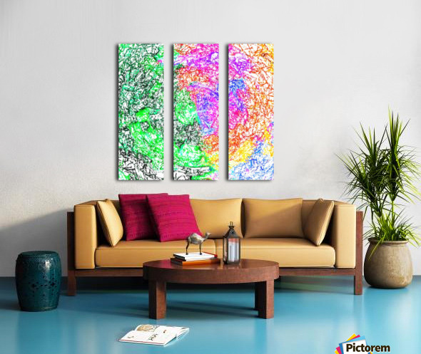 psychedelic splash painting abstract in pink purple green blue orange and yellow Split Canvas print