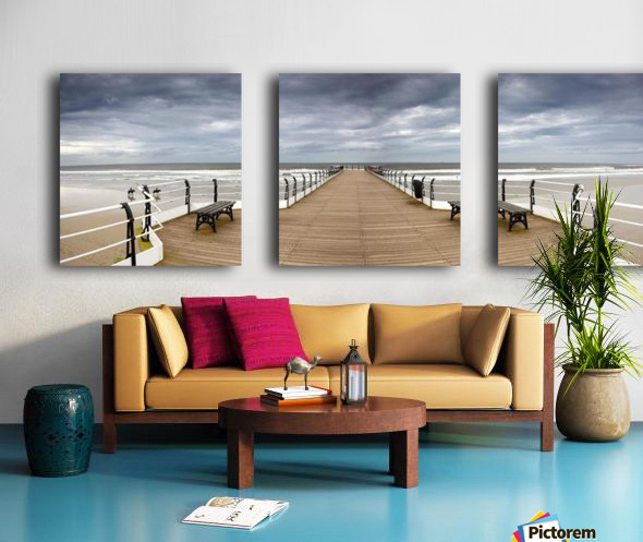 Dock With Benches, Saltburn, England Split Canvas print