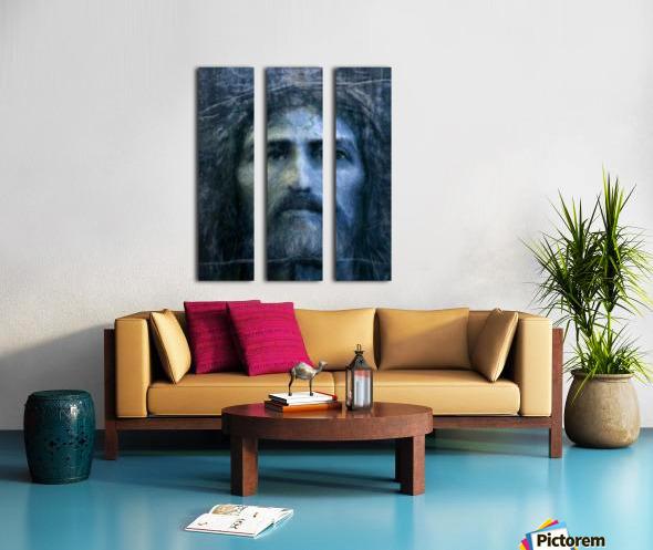 Christ face reconstruction blue Split Canvas print