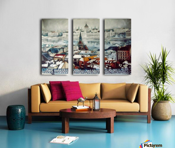 Budapest in wintertime Split Canvas print