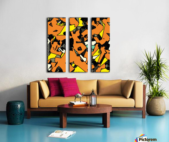 grunge geometric drawing and painting abstract in brown yellow and black Split Canvas print