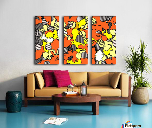 psychedelic drawing and painting abstract in orange and yellow Split Canvas print