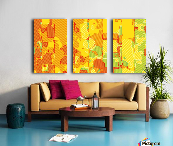 graffiti drawing abstract pattern in yellow brown and blue Split Canvas print