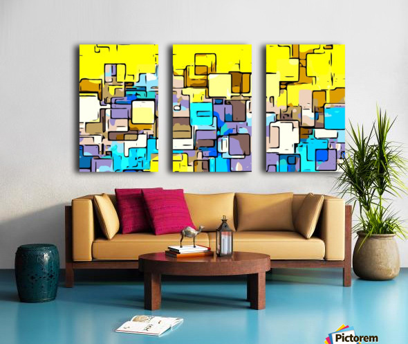 geometric graffiti square pattern abstract in yellow blue and brown Split Canvas print