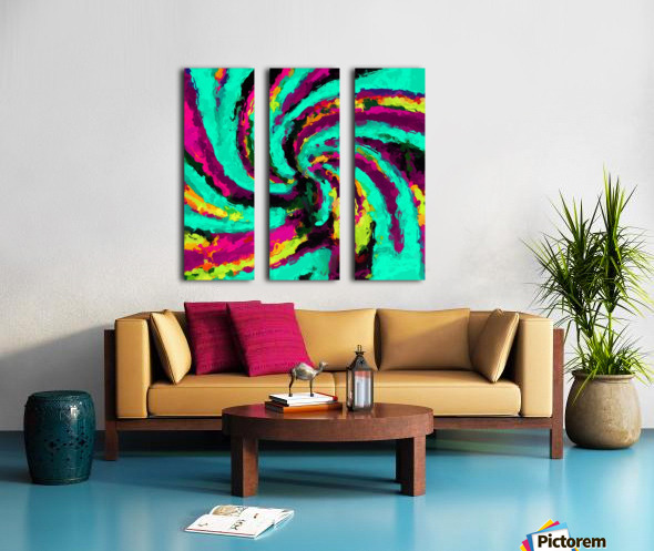 psychedelic graffiti watercolor painting abstract in green blue pink purple and yellow Split Canvas print