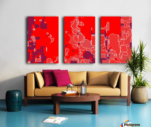 graffiti drawing and painting abstract in red and blue Split Canvas print