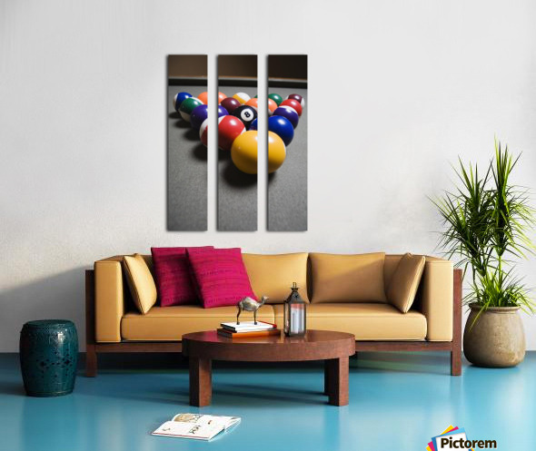 Pool Balls On A Billiard Table With The Eight Ball Facing Upwards Split Canvas print