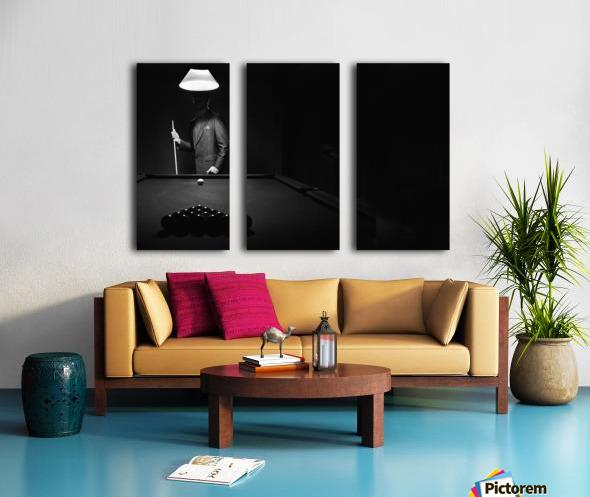 ; Mystery Pool Player Behind Rack Of Billiard Balls Split Canvas print