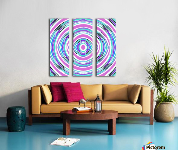 psychedelic graffiti circle pattern abstract in pink blue purple Split Canvas print