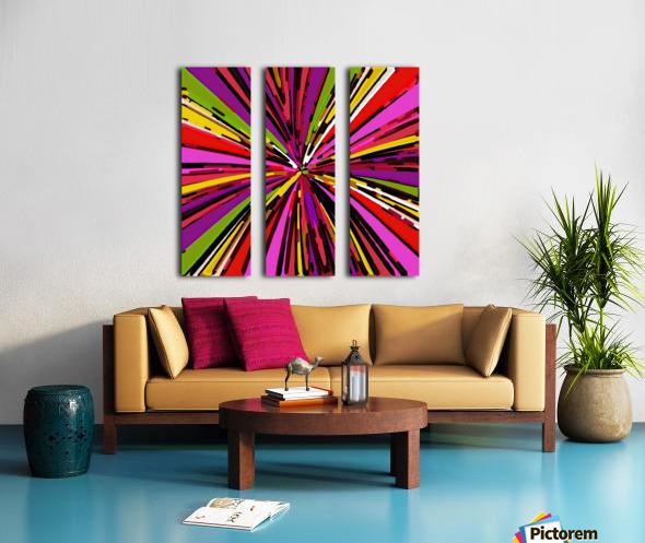 psychedelic geometric graffiti line pattern in pink purple yellow green red Split Canvas print