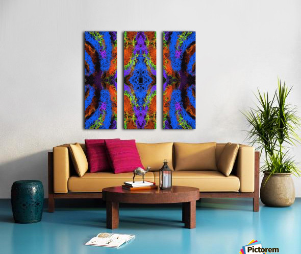 psychedelic graffiti geometric drawing abstract in blue purple orange yellow brown Split Canvas print