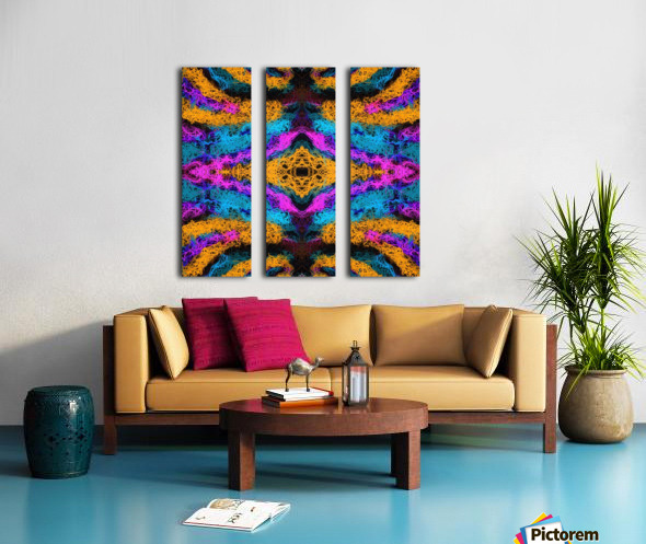 psychedelic graffiti geometric drawing abstract in pink orange blue Split Canvas print
