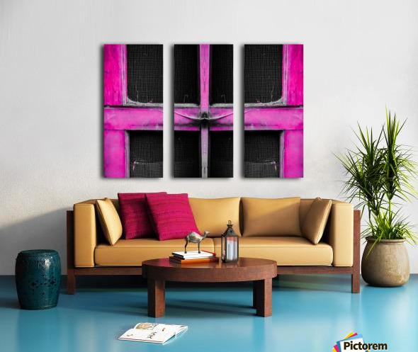 old pink wooden door abstract background Split Canvas print