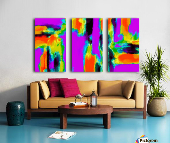 pink purple green orange black yellow and blue painting abstract background Split Canvas print