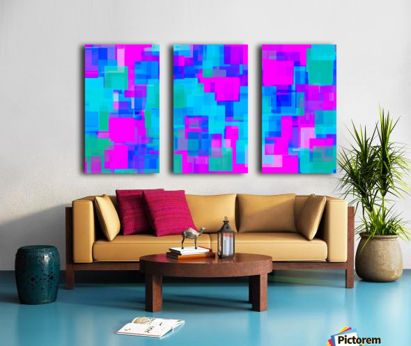 pink blue and green geometric square abstract background Split Canvas print