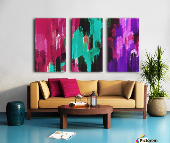red pink purple green and black painting abstract background Split Canvas print