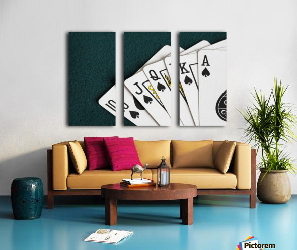 Close-Up Of Blackjack Playing Cards Showing Spades Royal Flush Split Canvas print