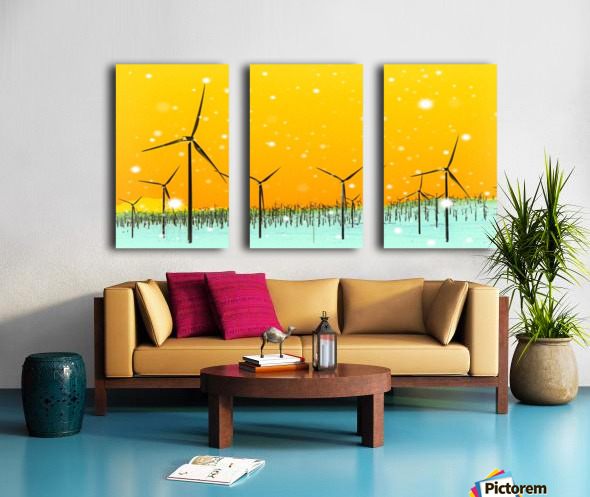 wind turbine at the desert with snow in winter Split Canvas print