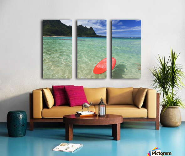 Hawaii, Kauai, Haena Beach Tunnels Beach, Red Surfboard Floating In Shallow Ocean. Split Canvas print