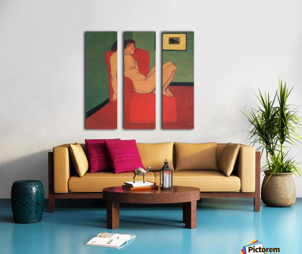 Nude in a Red Armchair by Felix Vallotton Split Canvas print
