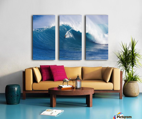 Hawaii, Maui, Peahi (Jaws), Surfer Rides A Giant Wave Split Canvas print