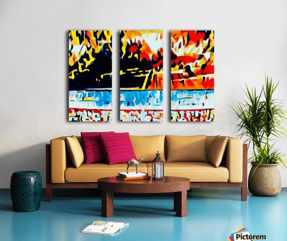 summer beach sunset geometric pattern abstract Split Canvas print