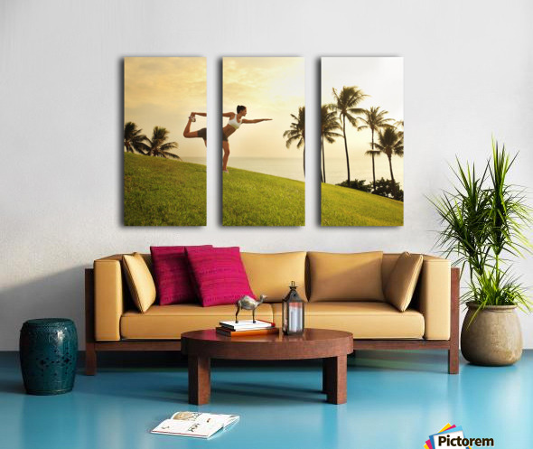 Hawaii, Oahu, Female Doing A Yoga Pose, Stretching On A Hill Overlooking Ocean, Palm Trees And Sunset. Split Canvas print