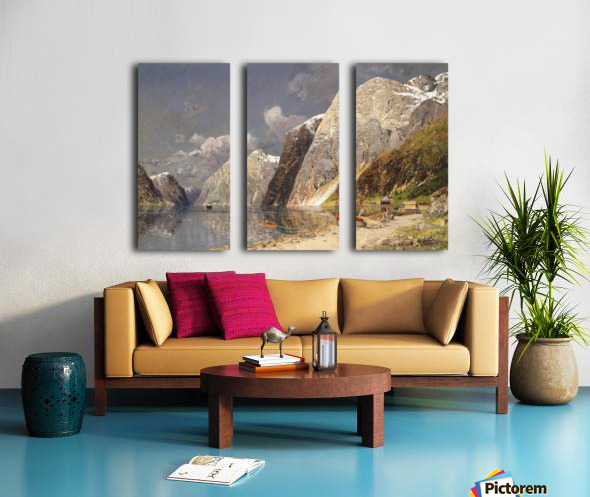 A river crossing the mountains Split Canvas print