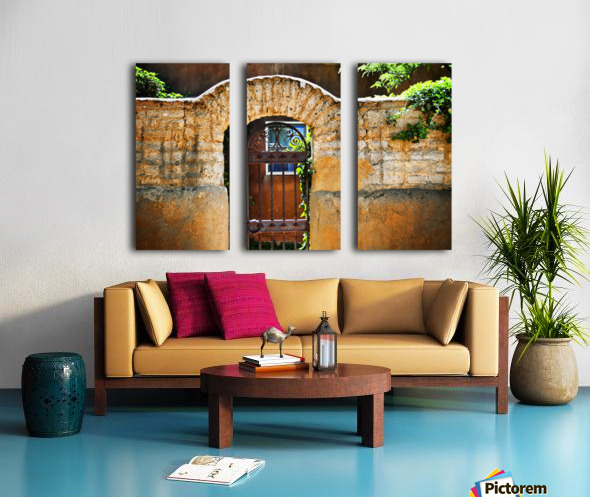 New Mexican Doors, New Mexico, Details Of Old Stone Doorway And Garden. Split Canvas print