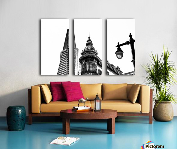 pyramid building and vintage style building at San Francisco, USA in black and white Split Canvas print
