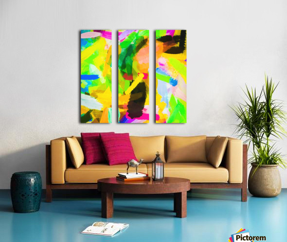 psychedelic splash painting texture abstract in green yellow pink blue Split Canvas print