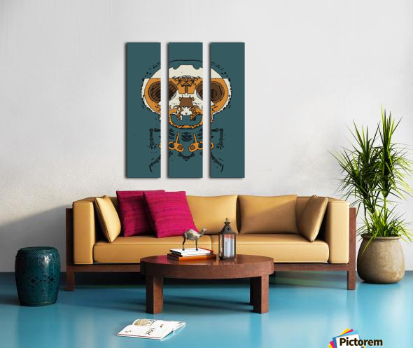 orange and brown skull and bone graffiti drawing with green background Split Canvas print