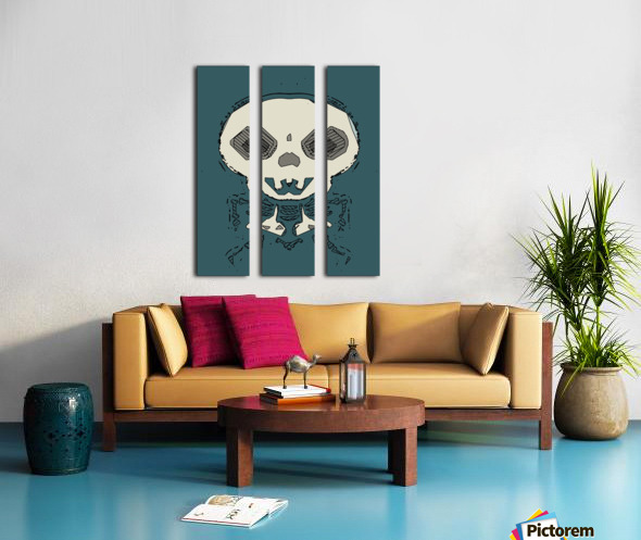 skull and bone graffiti drawing with green background Split Canvas print