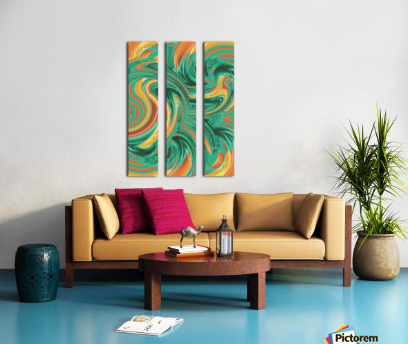 psychedelic graffiti wave pattern painting abstract in green brown yellow Split Canvas print