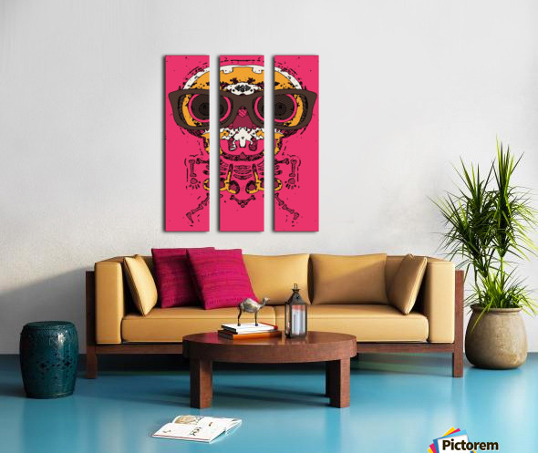 funny skull and bone graffiti drawing in orange brown and pink Split Canvas print