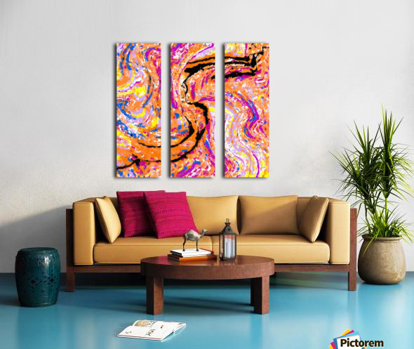 splash painting abstract in pink orange yellow blue and black Split Canvas print