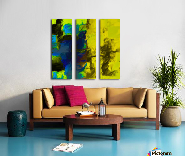 psychedelic splash painting abstract in yellow blue and black Split Canvas print