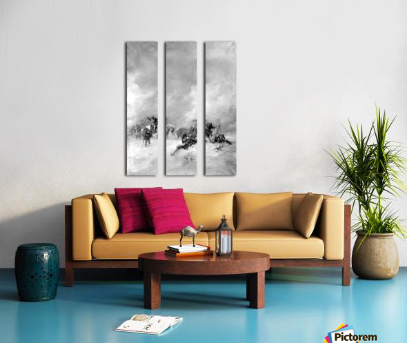 A pack of hunters in winter Split Canvas print