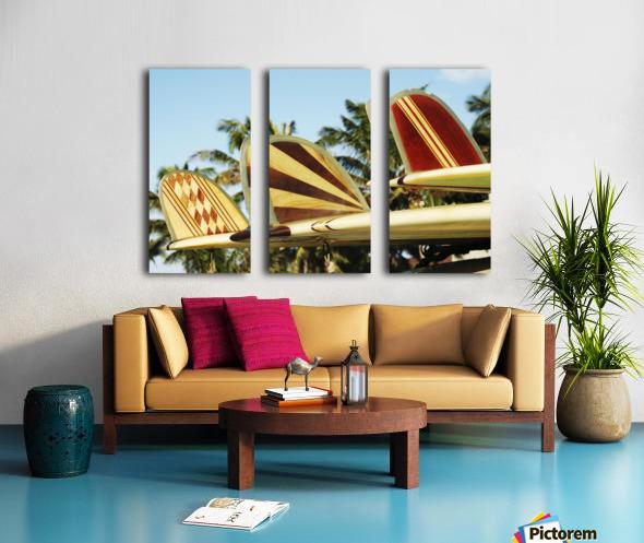 Hawaii, Oahu, Colorful Hawaiian Design Surfboards Fins. Split Canvas print