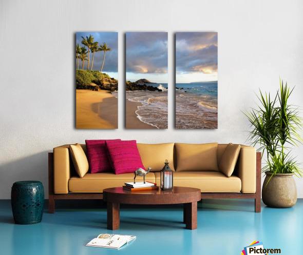 Hawaii, Maui, Makena, Secret Beach At Sunset. Split Canvas print