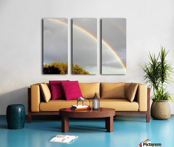 Landscape, photography - Double rainbow on Roman sky with tree - The Roman landscape, Rome, Italy, photography Split Canvas print